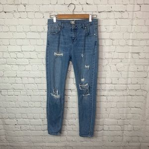 Topshop Moto Skinny Distressed Jeans Size 28
